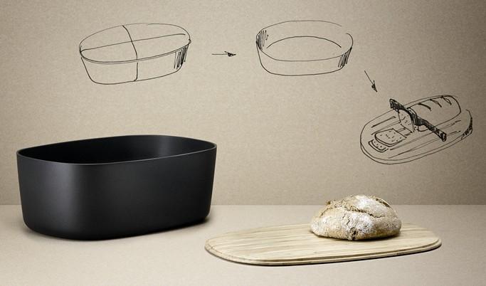 brotkasten mit schneidbrett schwarz stelton by rig tig. Black Bedroom Furniture Sets. Home Design Ideas
