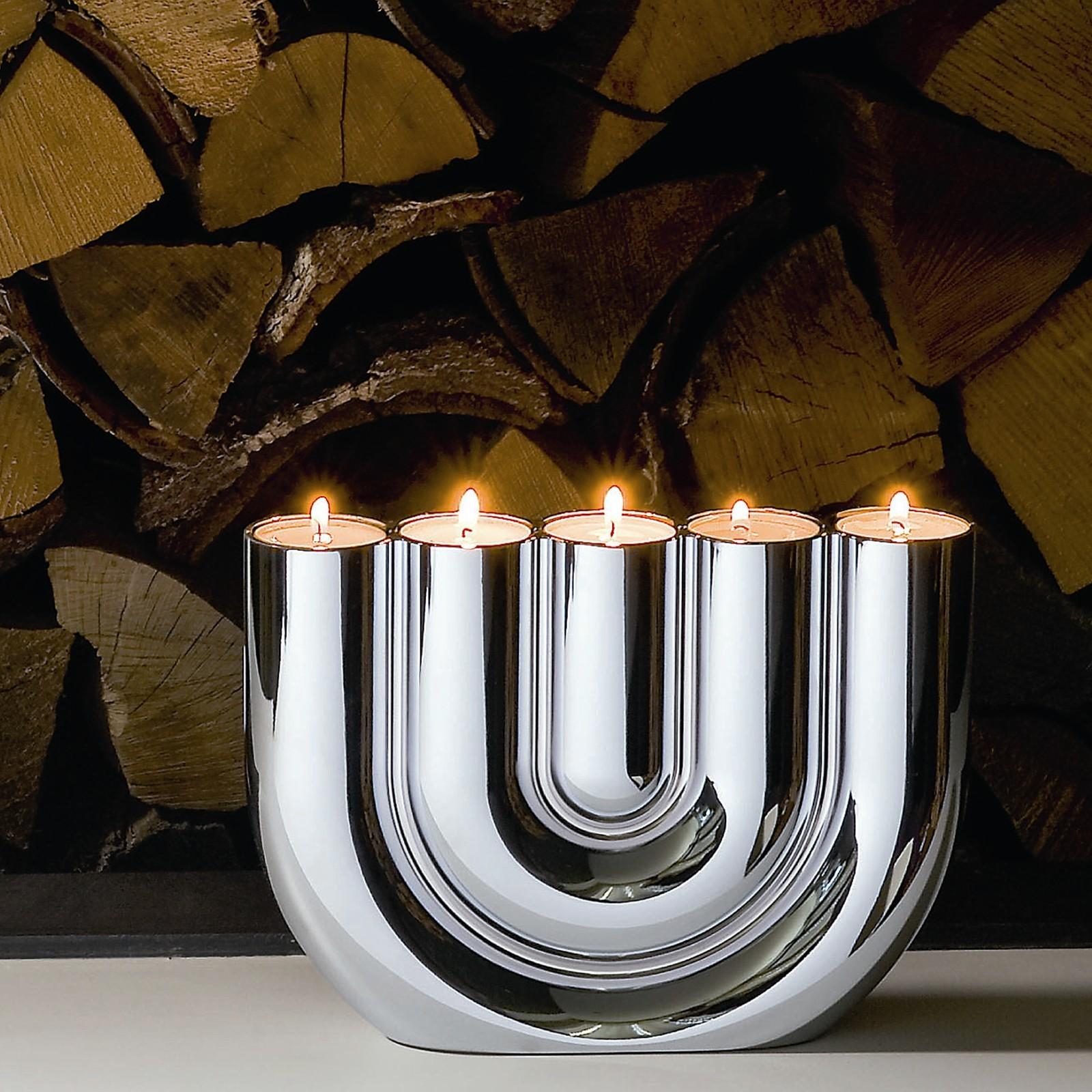teelichthalter teelichtst nder chrom philippi double u. Black Bedroom Furniture Sets. Home Design Ideas
