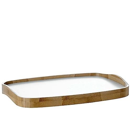 serviertablett tablett weiss bambusrand stelton emma. Black Bedroom Furniture Sets. Home Design Ideas