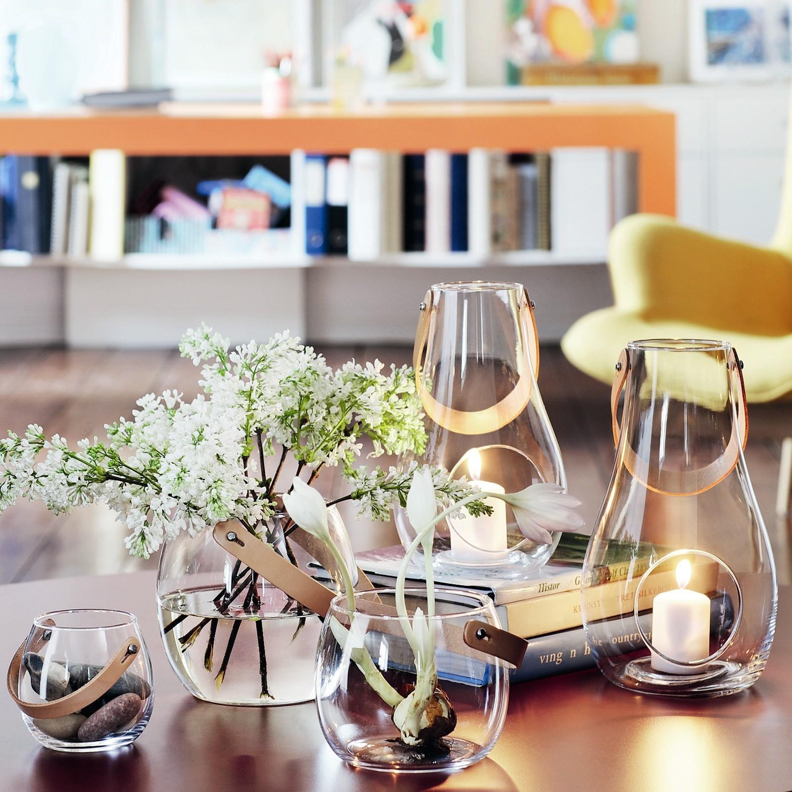 holmegaard with light laterne mit lederhenkel milchglas 25. Black Bedroom Furniture Sets. Home Design Ideas