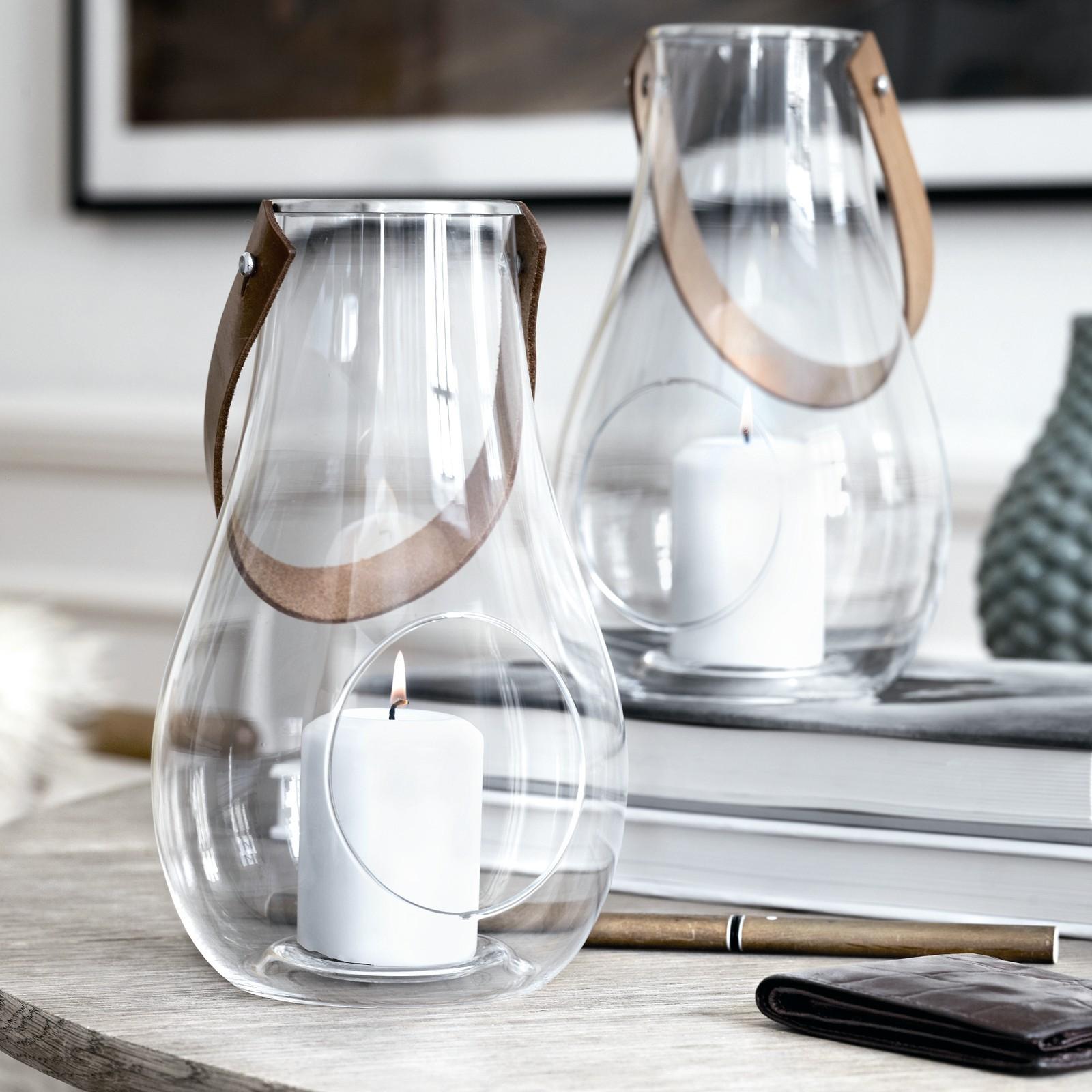 holmegaard with light laterne mit lederhenkel milchglas 45. Black Bedroom Furniture Sets. Home Design Ideas